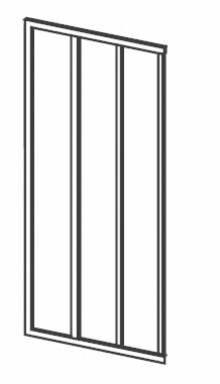 Produktbild: Eckeinstiegshälfte Kunstglas Breite 75 cm x Höhe1880 cm Profile weiss